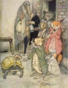 Fairy tales - illustration from Arthur Rackham of Aesop's Fable the Tortoise & the Hare Arthur Rackham, Art And Illustration, Book Illustrations, Fables D'esope, Hare & Tortoise, Fairytale Art, Poster Prints, Art Prints, Arte Pop