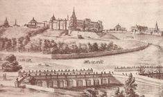 El alcazar de Madrid y el puente de Segovia en 1688. Códice de Florencia.