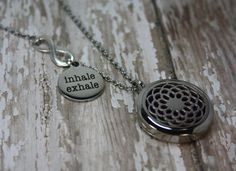Essential Oil Diffuser Necklace- Aromatherapy Necklace- Stainless Steel Aromatherapy Necklace- Inhale Exhale Lotus Infinity- Just Breathe Necklace- Lotus Locket 30mm  Would you love to have your favorite essential oils diffusing right under your nose? My essential oil diffuser necklaces allow you to have just that, and have a stylish statement piece at the same time! This necklace features the lotus locket, with an infinity connector and stainless steel laser engraved…