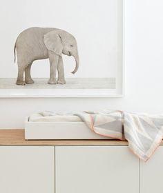 Baby Elephant Nursery Art — The Animal Print Shop Animal Print Shop, Animal Prints, White Kids Room, Baby Elephant Nursery, Elephant Print, Minimalist Nursery, Nursery Inspiration, Nursery Ideas, Room Interior Design