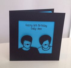 Personalised papercut Dan and Phil style birthday card with whiskers - handmade to order