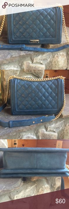 BCBG Matte Quilted Chain Strap Bag Dusty blue boy bag with gold chain strap. Only used a few times in great condition. BCBG Bags