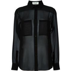 Saint Laurent sheer blouse ($1,095) ❤ liked on Polyvore featuring tops, blouses, shirts, black, blusas, silk shirt, sheer long sleeve blouse, long sleeve silk shirt, collar blouse and sheer blouse