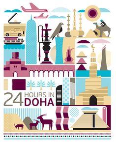 #Doha #Qatar http://directrooms.com/qatar/hotels/doha-hotels/price1.htm (World City Illustration by Fernando Volken Togni)