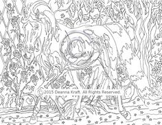 Rose Garden Trot Trotting Horse Coloring Page Downloadable