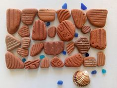 Flat Brick Sea Terracotta Shards with Stripes and Lettters, Authentic Sea finds Nautical Bathroom Decor, Euro Coins, I Pick, Thing 1, Beach Wedding Decorations, Aquarium Fish Tank, Beach Crafts, Handicraft, Terracotta