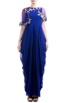 Indigo Blue Dhoti Gown With Attached Cape by Anushree Agarwal, Western Gowns