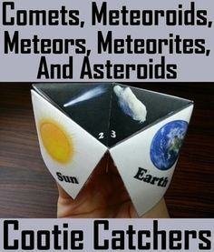 These cootie catchers/ fortune tellers are a great way for students to have fun while learning about the different types of celestial objects found within our Solar System. These cootie catchers contain the following vocabulary terms: Comet, Meteoroid, Meteor, Meteorite, Asteroid, Asteroid belt, Kuiper belt, Oort Cloud