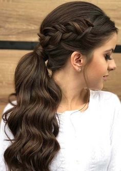 Elegant ponytail with side braid hair and beauty Eleganter Pferdeschwanz mit Seitengeflecht Haare und Beauty Braided Hairstyles Updo, Wedge Hairstyles, Feathered Hairstyles, Hairstyle Ideas, Ladies Hairstyles, Black Hairstyles, Hairstyles For Women Long, Trendy Hairstyles, Night Hairstyles