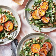 November 14: Sweet Potato Medallions with Almond Sauce and Chickpea Salad - What to Eat the Other 29 Days of November - Cooking Light