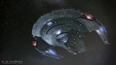 U.S.S. Peterson emerges from interstellar dust cloud.
