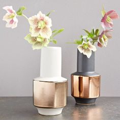 metallic banded vases from West Elm Raw Furniture, Contemporary Furniture, Modern Room Decor, Room Wall Decor, Home Decor Vases, Metal Vase, New Room, West Elm, Decoration