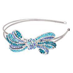 NEW Blue & Silver Crystal Bow Rhinestone Headband USA SELLER