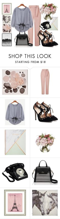"""""""SHEIN CONTEST: Checkered Bow Tie High Low Blouse"""" by kat-van-d ❤ liked on Polyvore featuring Oliver Gal Artist Co., Topshop, Hobbry, GPO, Kate Spade, Vintage Print Gallery, Pier 1 Imports and Grandin Road"""