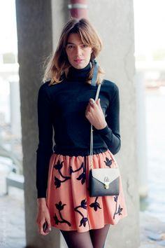 Antonine Peduzzi, bag designer, wearingLouis Vuitton skirt.. Par