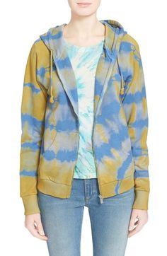 Saint Laurent Destroyed Tie Dye Cotton Hoodie