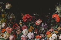 Dark Floral Flower Arrangement Wallpaper Mural | Hovia
