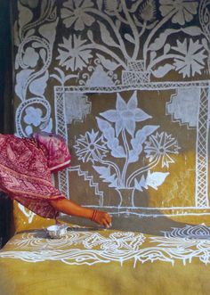 "Exterior home painting w/ symbols to goddess Lakshmi by ""Bidulata"" Hota, in the Puri District, Orissa. From the exceptional book ""Daughters of India: Art and Identity"" by Stephen P. Huyler"