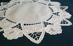 Polish Round Richelieu Linen Traycloth, Doily, Vintage White Dresser Scarf, cutwork embroidery, Polish linen Wedding richelieu embroidery by VintagePolkaShop on Etsy