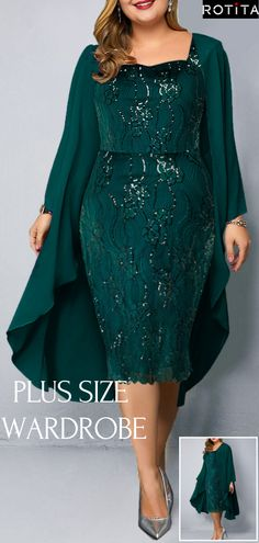 """Chiffon Cardigan and Sequin Embellished Plus Size Dress """"Maybe you don't like me, but I am very satisfied with myself"""" For every curvy girl. Pretty Outfits, Pretty Dresses, Beautiful Outfits, Chiffon Cardigan, Chiffon Dress, Vintage Style Dresses, Elegant Dresses, Plus Size Dresses, Plus Size Outfits"""