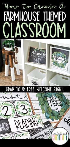 Learn how to create a farmhouse themed classroom a Elementary Classroom Themes, Middle School Classroom, Classroom Ideas, Future Classroom, Preschool Classroom, Classroom Decorations Middle School, Decorating High School Classroom, Middle School Decor, Classroom Layout