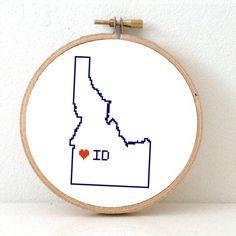 IDAHO Map Cross Stitch Pattern. Idaho art pattern with by koekoek