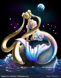 Sailor Moon/Princess Serenity as a mermaid, art mine! Sailor Moon Crystal, Cristal Sailor Moon, Arte Sailor Moon, Sailor Moon Fan Art, Sailor Moon Usagi, Anime Mermaid, Mermaid Art, Princesa Serena, Sailor Saturno