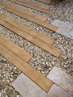 wood beam stone path, love this idea. It would be perfect for an outdoor kitchen situation. Landscape Architecture, Landscape Design, Garden Design, Stone Path, Wood Stone, Stone Slab, Hampton Court Flower Show, Paving Pattern, Paving Ideas