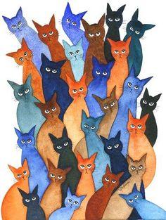 Genesis Stray Cats   Lori Alexander   http://www.straycatartbylorialexander.com/whimsical-cats