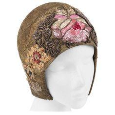 MANNHEIMER c.1920's Gold Lace Floral Glass Bead Sequin Helmut Flapper Cloche Hat | From a collection of rare vintage hats at https://www.1stdibs.com/fashion/accessories/hats/