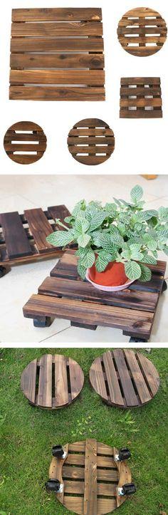 Only US$17.89 , shop Removable Wooden Flower Pot Pallet Garden Flowerpot Holder With Universal Wheels at Banggood.com. Buy fashion Garden Pots & Planters online.