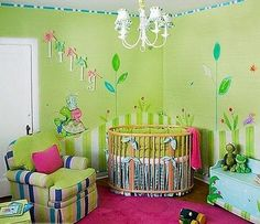 Green, pink, and turquoise baby girl room maybe someday