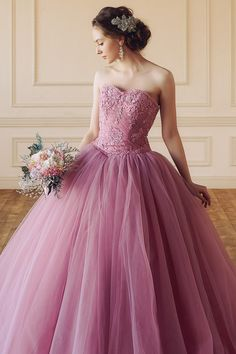 28 ideas wedding colors lavender beautiful in 2020 Pink Gowns, Colored Wedding Dresses, Pink Dress, Bridal Dresses, Wedding Colors, Disney Princess Dresses, Gown Pattern, Sweet Dress, Quinceanera Dresses