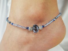 Anklet, Ankle Bracelet, Light Sapphire Blue Crystal Oval, Royal Blue, Beach, Vacation, Resort, Pool, Cruise, Pool, Summer