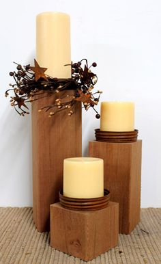 Red Cedar Candle Holders, Primitive Country Decor