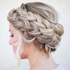 Double French Braid Crown Updo