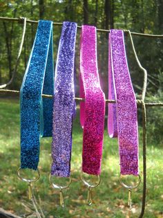 Sparkling Metallic Lanyard Key Chains in Blue by jadalynbrown, $7.00>> Love the blue one.
