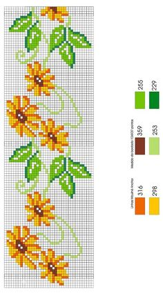 Wildflower sunflower cross stitch.