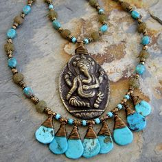 Brass Lord Ganesha Necklace With Chinese Turquoise, Brass And Glass Beads by GinnyWolfStudio on Etsy