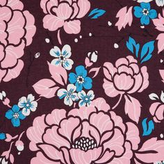 Italian Fig/Pink/Blue Floral Printed Cotton Batiste