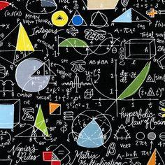 Tela de algodón de tesoros regreso a la escuela matemáticas negro atemporal 1/2 yarda
