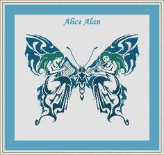Cross Stitch Pattern Silhouette Butterfly Muse Harp от HallStitch