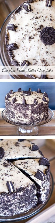 Triple layer chocolate cake with peanut butter frosting and peanut butter cup Oreos! Holy yum. | www.alattefood.com/