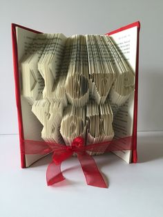 I Love You Book Fold- Husband- Wife- Boyfriend- Girlfriend- Folded Book- Birthday- Anniversary- Sculpture- Book Art- Book Lover- Wedding by GiftwithTreasures on Etsy