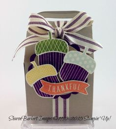 Baker's Box thinly and the Acorny Thank You stamp set and Acorn Builder punch. Available 9/1/15
