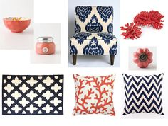 Navy and Coral living room stuffs
