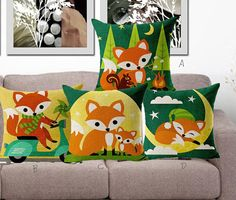 Your place to buy and sell all things handmade Throw Pillow Cases, Throw Pillows, Cushion Covers, Woodland, Cushions, Unique Jewelry, Handmade Gifts, Bedding, Fox