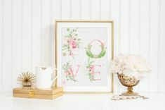 LOVE Digital Print Wall Art Watercolor Blush Pink by froufroucraft