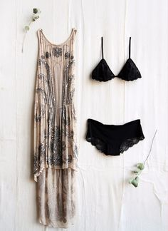 Classy lingerie and sequin dress