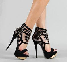 Black High Heels Net Shoes For Ladies Click the picture to see more